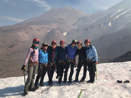 students hiking mt shasta mountain in snow