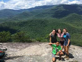 teenage boys and girls hiking in western nc
