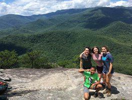 teenage boys and girls hiking in western nc
