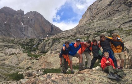 teenagers hiking in rocky mountain national park