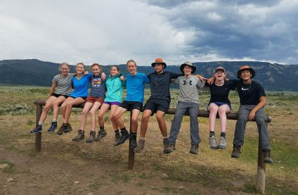 teenagers hiking in yellowstone national park