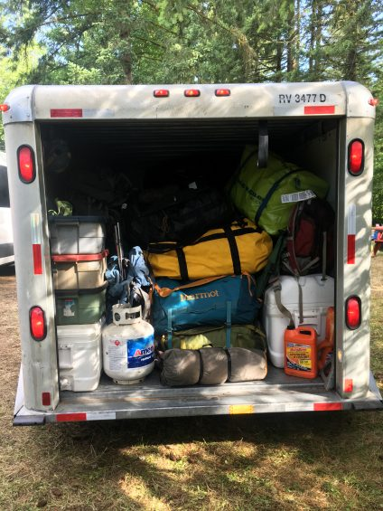 uhaul trailer packed with gear