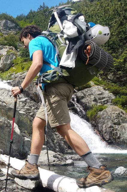 backpacking in hiking boots